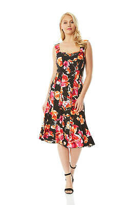 Floral Print Panel (Floral Print Panel Dress - Sleeveless Summer- Roman Originals Women )