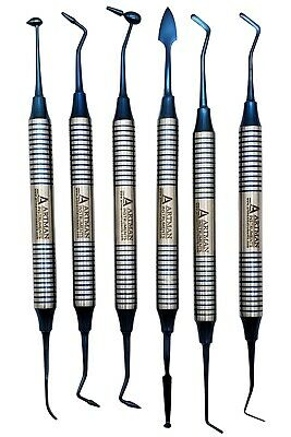 Dental Composite Non Stick Filling Instruments Kit 6 Pcs Blue