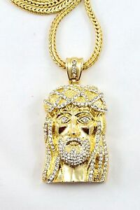 New HIP HOP Gold Finish Jesus Piece Pendant Long Franco Chain 36'' long Bling