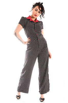 Polka Dot Overall (langer retro rockabilly Polka Dots Overall Playsuit Punkte Jumpsuit)