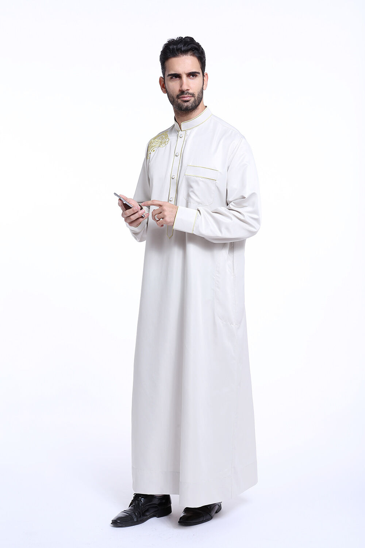 Men Saudi Jubba Thobe Thoub Abaya Robe Daffah Dishdasha