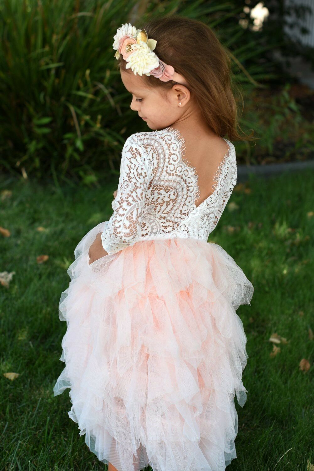 Details About Beautiful Girls Full Length Pink Peach Lace Tulle Layered Tutu Flower Girl Dress