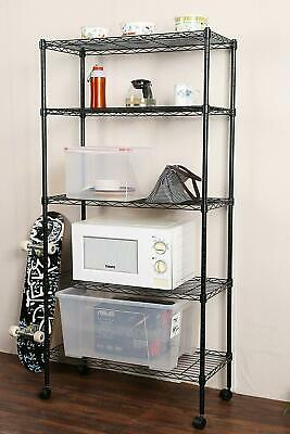 New Commercial 5 Tier Shelf Adjustable Wire Metal Shelving Rack Wrolling Black