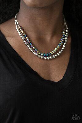 Crystal Like - Paparazzi rainbow iridescence, metallic crystal like-beads Necklace & Earrings