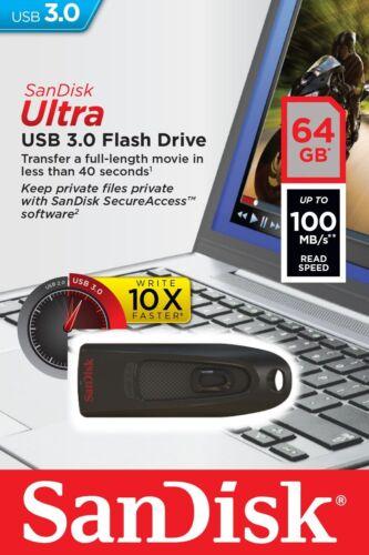 Sandisk 64GB 64 GB CZ48 Ultra USB 3.0 Chiave Flash Stick Drive Chiavetta 100MB/s