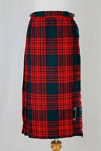 Vtg Gor-Ray Red & Green Pleated Midi Wool Scottish Tartan Plaid Kilt Skirt S XS