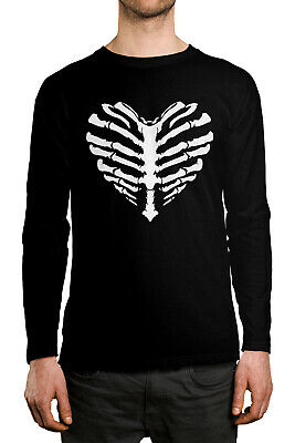 Skeleton Heart Ribcage Halloween Love Costume Idea  Long Sleeve Men's Shirt