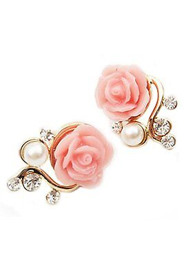 Pink Rose and Pearl Earrings with Crystals - Pierced Earrings - NEW