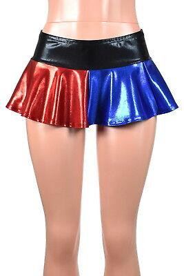 Harley Quinn Skirt (Shiny Blue Red Harley Quinn Micro Mini Skirt metallic XS to XL 2XL 3XL plus)
