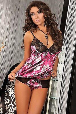 Nachtwäsche Pyjama Top (LivCo Selene Pyjama Set Nachtwäsche Top Panty Schwarz Rosa Satin Spitze Dessous)