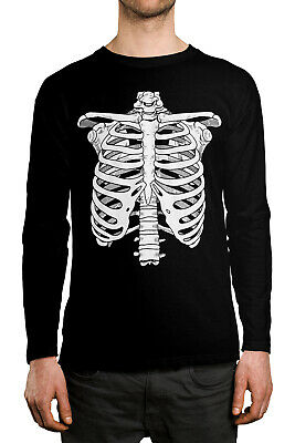 Comic Costume Ideas (Ribcage Skeleton Bones Halloween Funny Costume Idea  Long Sleeve Men's)