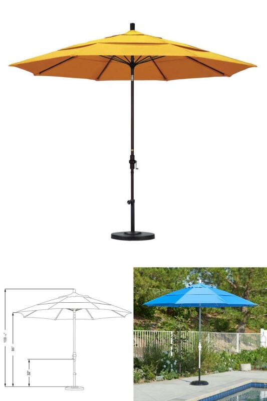 11 Ft. Bronze Aluminum Umbrella Market Fiberglass Collar Til