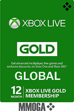 12 Month Xbox Live Gold Membership - Microsoft Xbox 360 One Subscription- Global