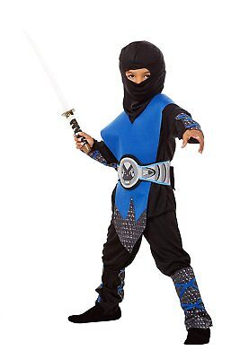 Ninja Kostüm Kinder blau - komplettes 6-teiliges Ninja Kostüm für Jungen 98102