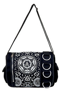 Pentagram Messenger Shoulder Bag by Banned Goth Emo Rock Occult Symbols BLACK