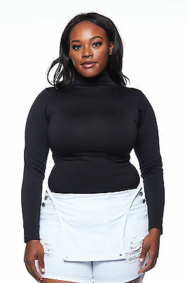 Womens Ladies Plus Sizes Curvy Long Sleeve Turtle Neck Sweaters Tops STPF008