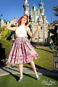 Pinup girl Jenny swing skirt neverland print size large