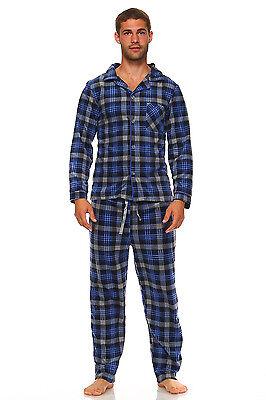 Men Fleece Pajama Set, Classic Premium Plaid Flannel Lounge Pajama Pant