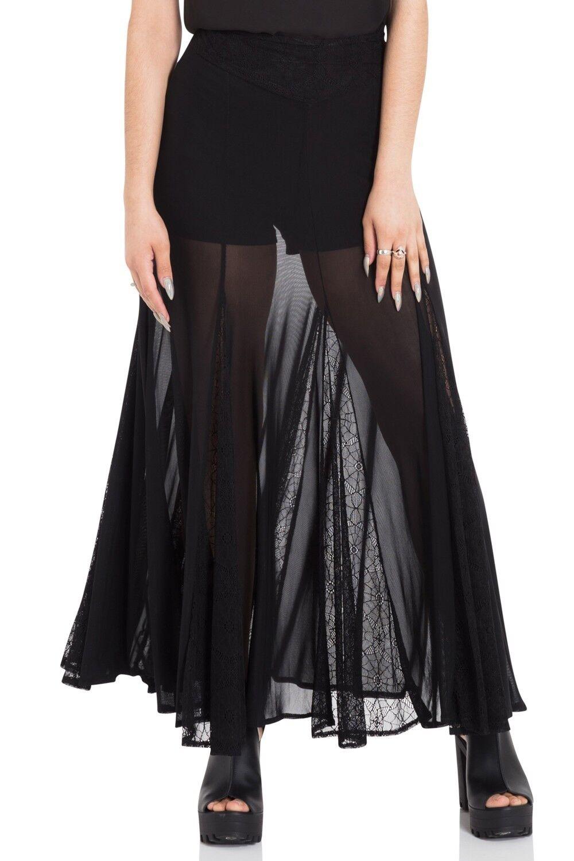 JAWBREAKER GOTHIC VAMPIRE WITCH CULT COBWEB BLACK MAXI LONG SKIRT SKA3315 Clothing, Shoes & Accessories