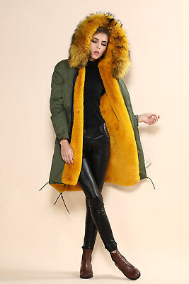 Italy Real Fox Fur Coat Camouflage Army Parka rex rabbit  Lining Mr Mrs Hoodie