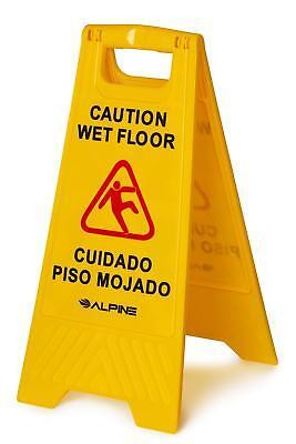"""Alpine Industries Yellow 24"""" Caution Wet Floor Sign"""
