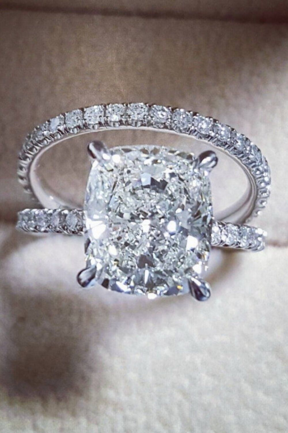 18K WG 2.10 Ct Cushion Cut Diamond Round Pave Engagement Ring Set G,SI1 GIA 4
