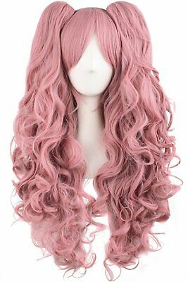TSNOMORE Long Curly Lolita Cosplay Wig + 2 Clip on Pigtail Ponytail wig  (Pink Pigtail Wig)