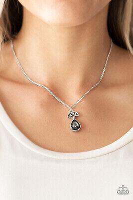 Paparazzi Necklace w/ Earrings Hematite Rhinestone Teardrop - Nice To Meet You - Hematite Teardrop Earrings