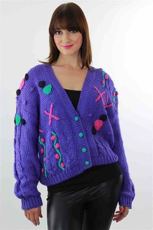 Vintage 80s Cable knit Cardigan Applique Hand knit Purple floral sweater
