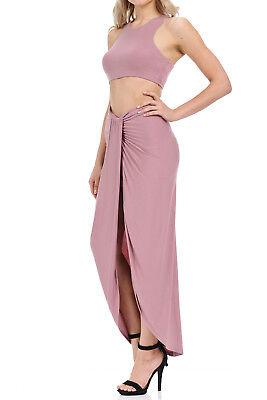 Auliné Collection Women's Two Piece Sleeveless Bodycon Slit Maxi Dress