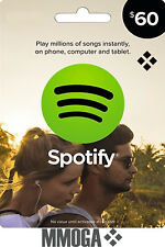 $60 USD Spotify Gift Card USD 60 -  60 US Dollar Prepaid Code - USA Dollar