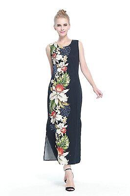 Made In Hawaii Women's Hawaiian Luau Maxi Tank Dress in Black Side Orchid