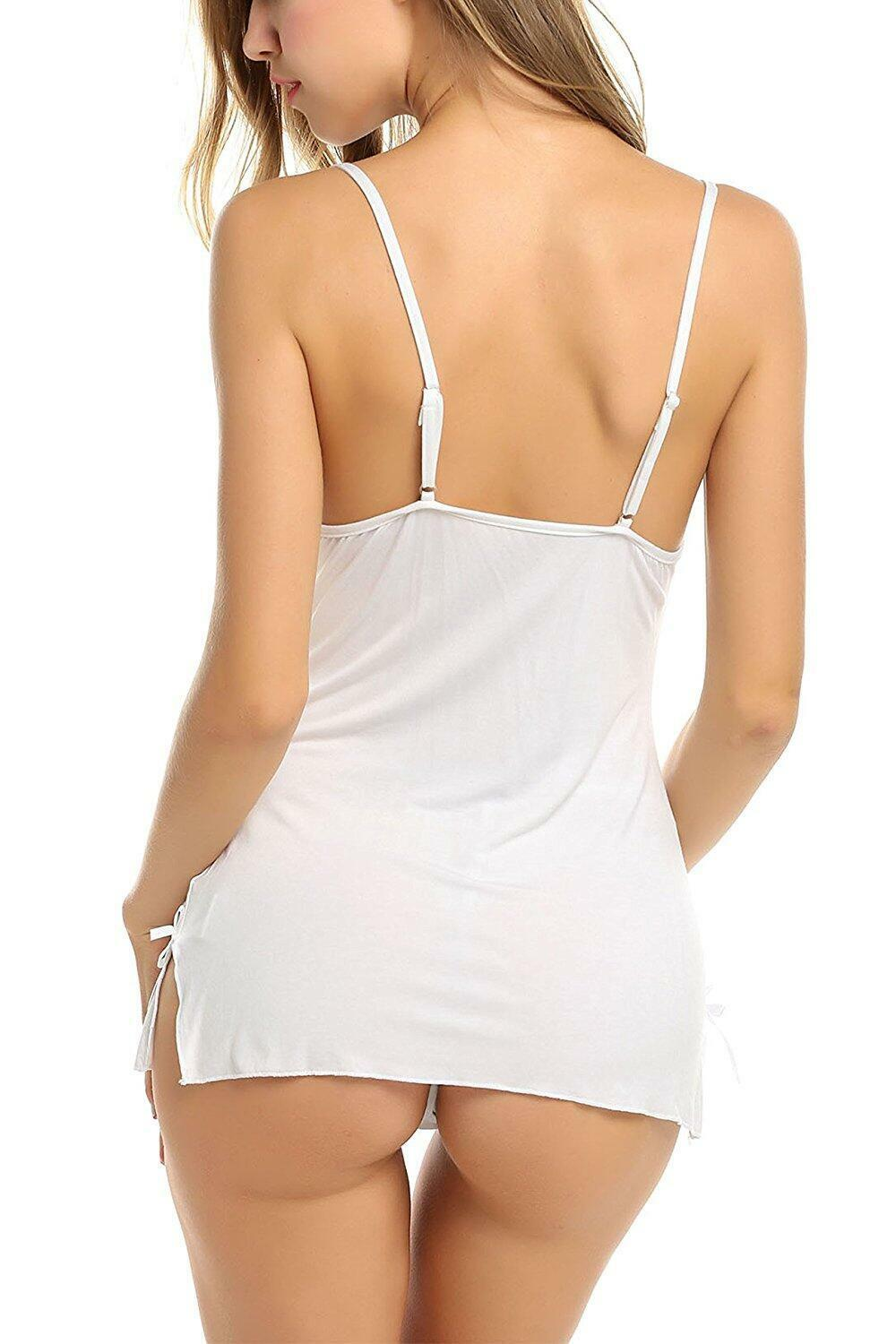 Women Sexy Sleepwear Lace Lingerie Chemise Nightgown Babydoll Full Slips M-XXL Clothing, Shoes & Accessories