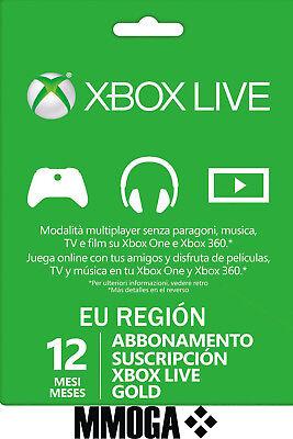 SuscripciónXbox Live Gold De 12 Meses - Xbox One Xbox 360 Código...