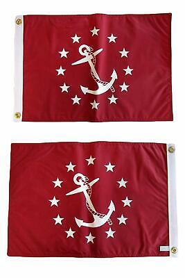 """12x18 Vice Commodore Red Boat Nautical Flag 12x18"""" Double Si"""