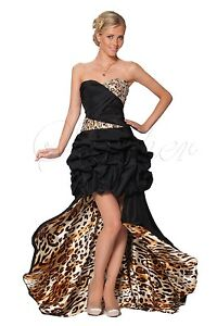 Sexy Strapless Animal Print Long Train Cocktail CO5110 UK NEXT DAY DELIVERY