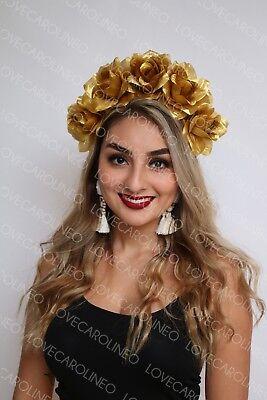 Gold Rose Flower Crown Wedding Festival Headband Floral Garland Headpiece Boho