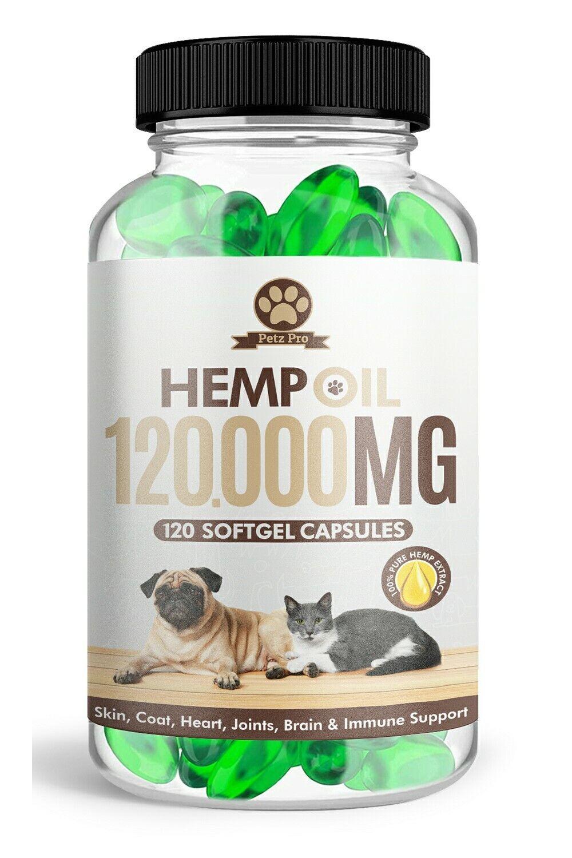 Hemp Seed Oil - 1000mg per 120 Capsule 120000mg/bottle, Rich in Omega 3 6 & 9