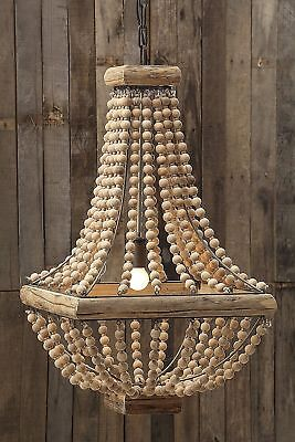 FRENCH FARMHOUSE COUNTRY  BEADED WOOD PENDANT CHANDELIER (Beaded Chandelier)