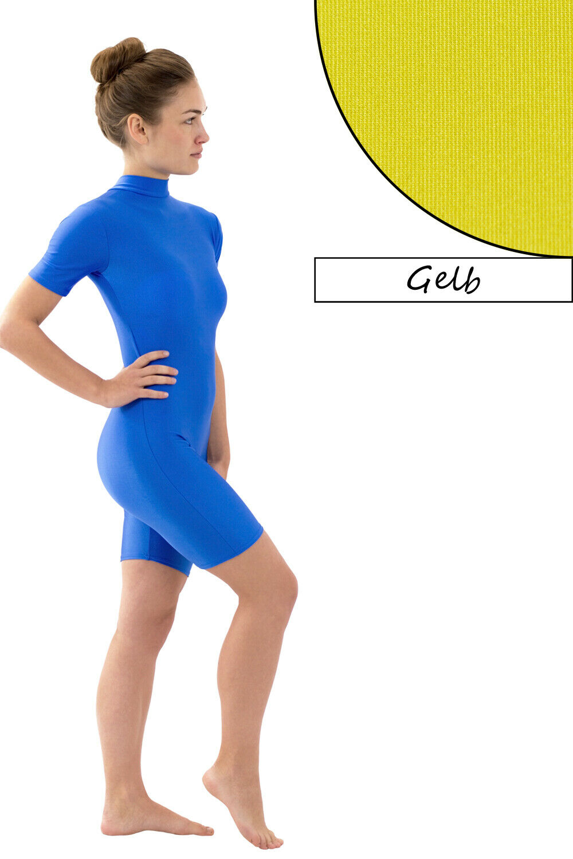 Damen Ganzanzug Radlerbeine Kragen Rücken-RV kurze Ärmel+Beine stretch glänzend