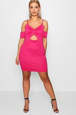Boohoo Plus Ruched Front Bodycon Dress HOT PINK Size 14 NWT
