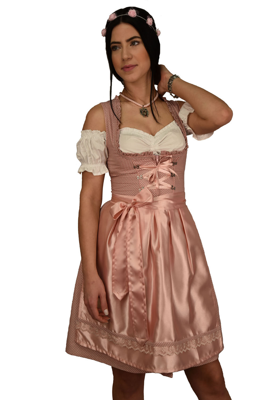 Dirndl Set 3tlg Trachtenkleid 375GT Rosa kariert Oktoberfest Gr 34 bis 42