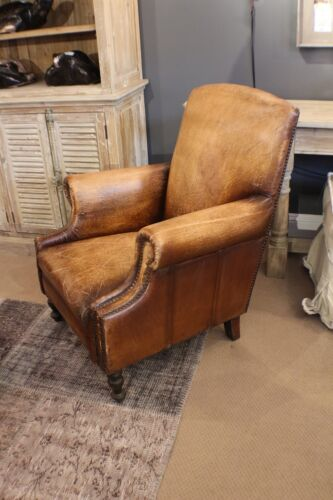 "36"" H Arm Club Chair High Back Antiqued Buffalo Brown Top Grain Leather Unique"