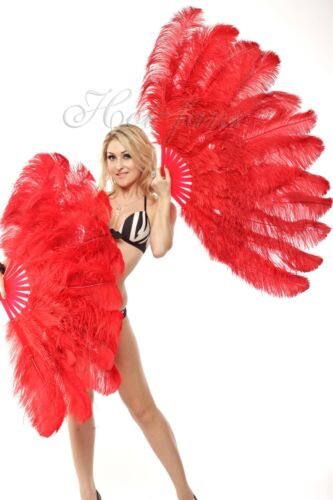 """Red 2 layers Ostrich Feather Fan 30"""" x 54"""" with Travel leather Bag"""