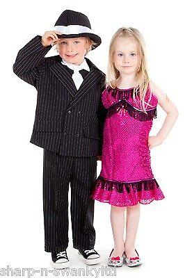 1920 Kinder Kostüme (Kinder Jungen Mädchen 1920s Gangster Flapper Bugsy Malone Kostüm Kleid Outfit)