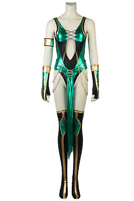 Mortal Kombat Female Costumes (Mortal Kombat X Jade Costume Karate Cosplay Ninja Halloween Femle Fancy)