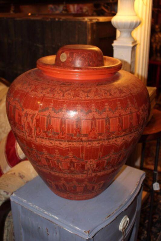 "Large Vintage Burmese Lacquerware Betel Nut Jar, 19"" x 17"""