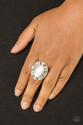 - Paparazzi Jewelry floral filigree white moonstone flex Ring nwt