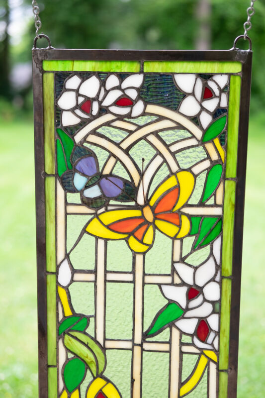 """10"""" x 36"""" Handcrafted stained glass window panel Butterfly Garden Flower"""