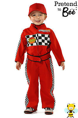 BOYS KIDS RED FORMULA 1 CAR RACING DRIVER COSTUME OVERALLS OUTFIT AGE 2-3-5-7